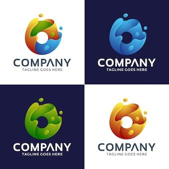 Design de logotipo letra o com estilo 3d.