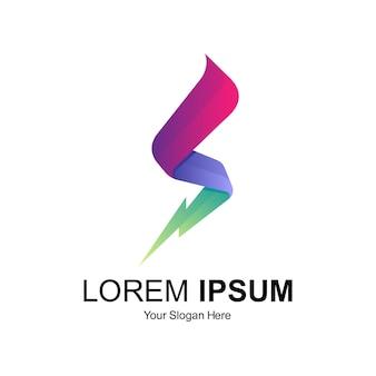 Design de logotipo letra s trovão