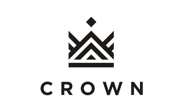 Design de logotipo linha arte coroa / royal