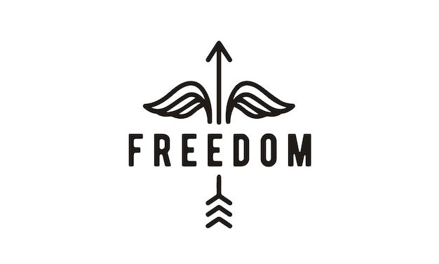 Design de logotipo linha arte hipster liberdade
