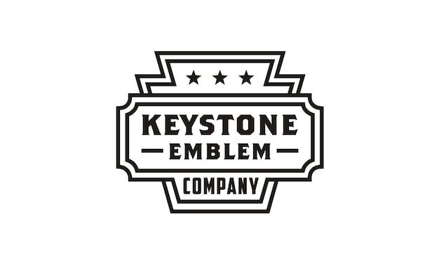 Design de logotipo linha arte keystone emblema / emblema