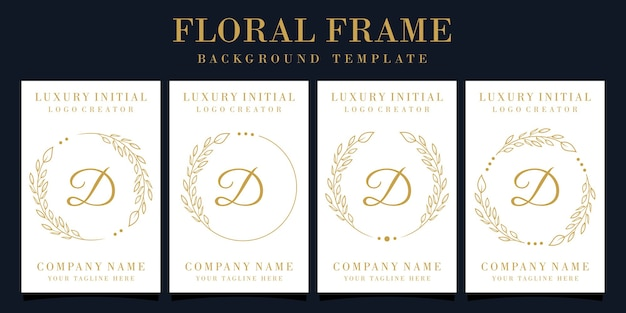 Design de logotipo luxuoso da letra d com moldura floral