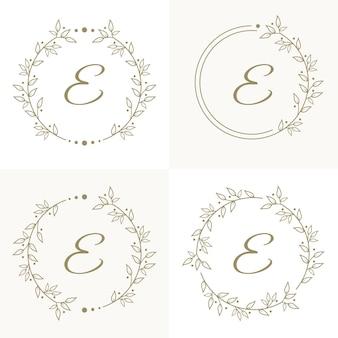 Design de logotipo luxuoso da letra e com modelo de fundo de moldura floral