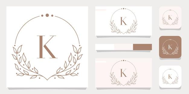 Design de logotipo luxuoso da letra k com modelo de moldura floral e design de cartão de visita
