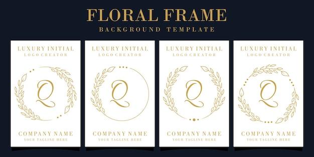 Design de logotipo luxuoso da letra q com moldura floral