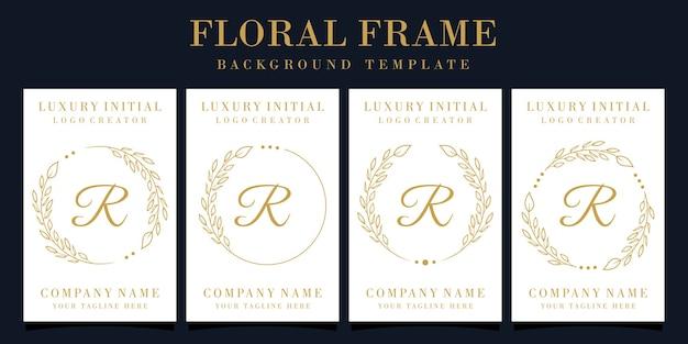 Design de logotipo luxuoso da letra r com moldura floral