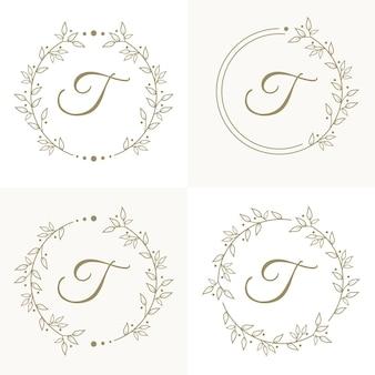 Design de logotipo luxuoso da letra t com modelo de fundo de quadro floral