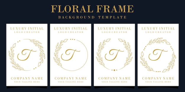 Design de logotipo luxuoso da letra t com moldura floral