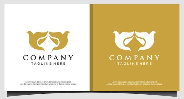 Design de logotipo luxuoso de pássaro voa