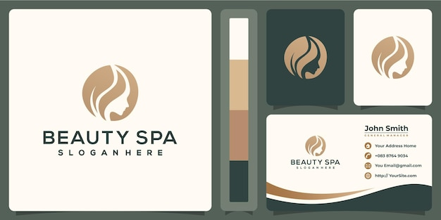 Design de logotipo luxuoso de spa de beleza com conceito de cartão de visita