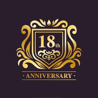 Design de logotipo luxuoso do 18º aniversário
