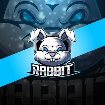 Design de logotipo mascote coelho esport