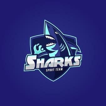 Design de logotipo mascote com tubarão