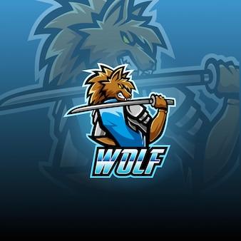 Design de logotipo mascote esport lobo selvagem