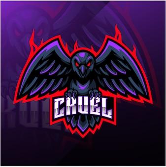 Design de logotipo mascote esporte corvo