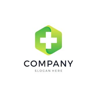 Design de logotipo médico hexágono