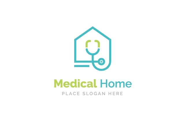 Design de logotipo médico para casa com ícone de estetoscópio