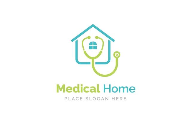 Design de logotipo médico para casa com o ícone do estetoscópio.