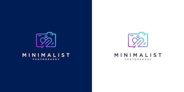 Design de logotipo minimalista amo fotografia. design de estilo de linha, câmera, lente e foco.