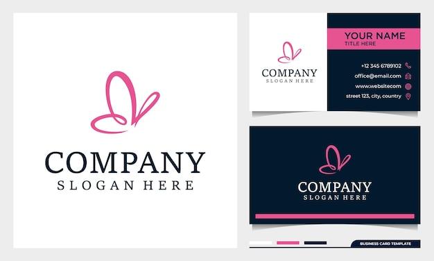 Design de logotipo minimalista de borboleta com modelo de cartão de visita Vetor Premium