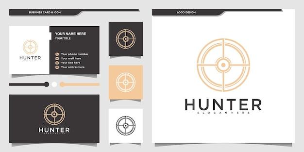 Design de logotipo minimalista de caça com estilo de arte de linha circular moderna e cartão de visita premium vektor