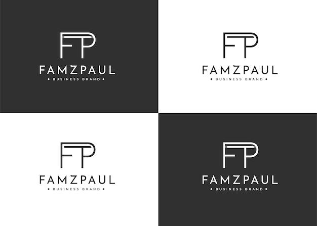 Design de logotipo minimalista de letras fp