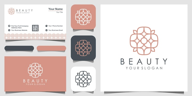 Design de logotipo minimalista e elegante de folha e flor rosa para beleza cosméticos ioga e spa