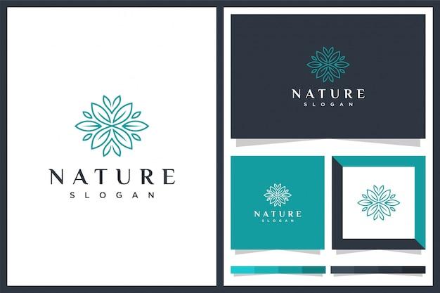 Design de logotipo minimlais folha natural