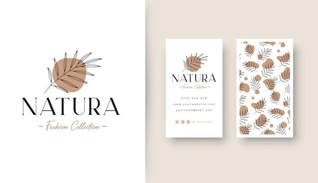 Design de logotipo mínimo em folha de palmeira com cartão de visita