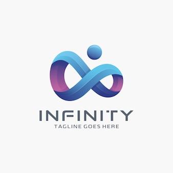 Design de logotipo moderno 3d infinity com ponto