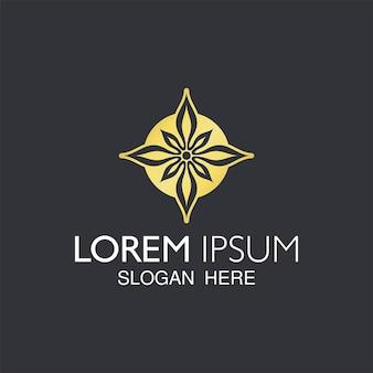 Design de logotipo moderno abstrato flor dourada.
