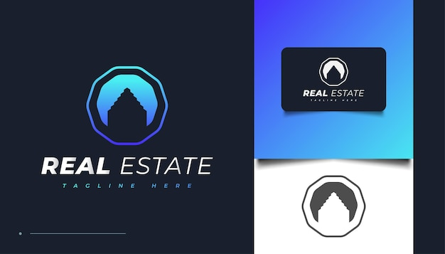 Design de logotipo moderno azul imobiliário. modelo de design de logotipo de construção, arquitetura ou edifício