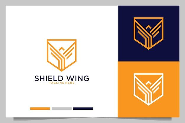 Design de logotipo moderno da asa de escudo