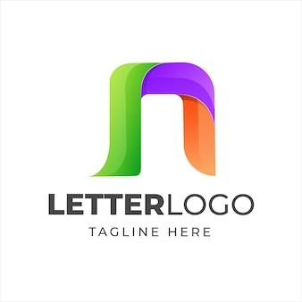Design de logotipo moderno da letra n colorida