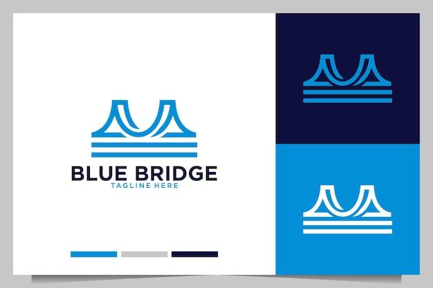 Design de logotipo moderno da ponte azul