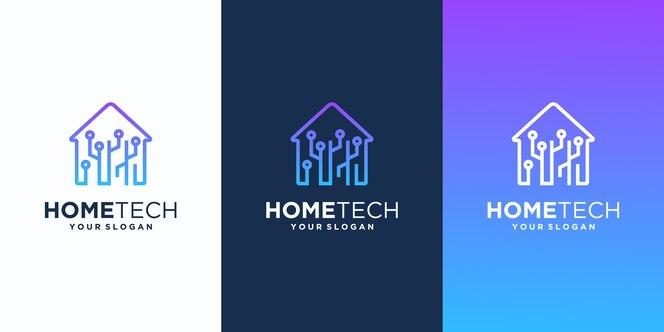 Design de logotipo moderno de casa inteligente, casa de tecnologia