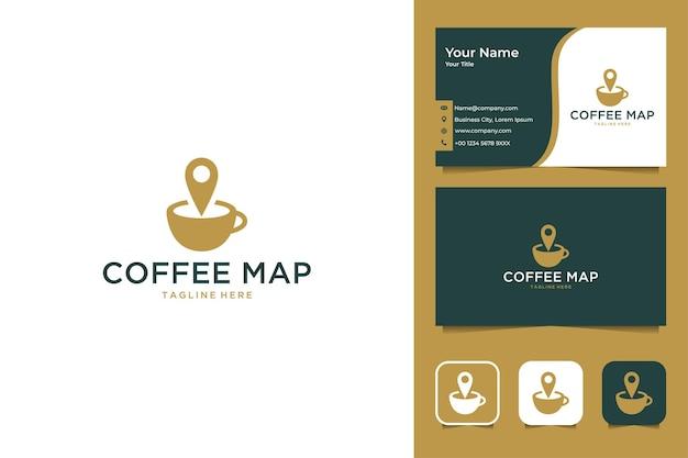 Design de logotipo moderno do mapa do café e cartão de visita