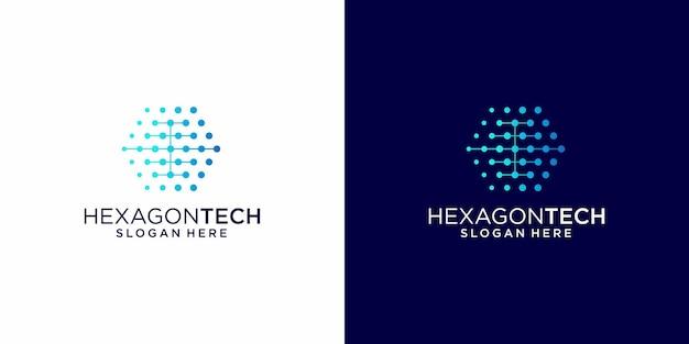 Design de logotipo moderno em tecnologia hexagonal