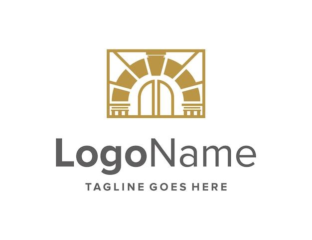 Design de logotipo moderno geométrico de luxo portão ouro criativo