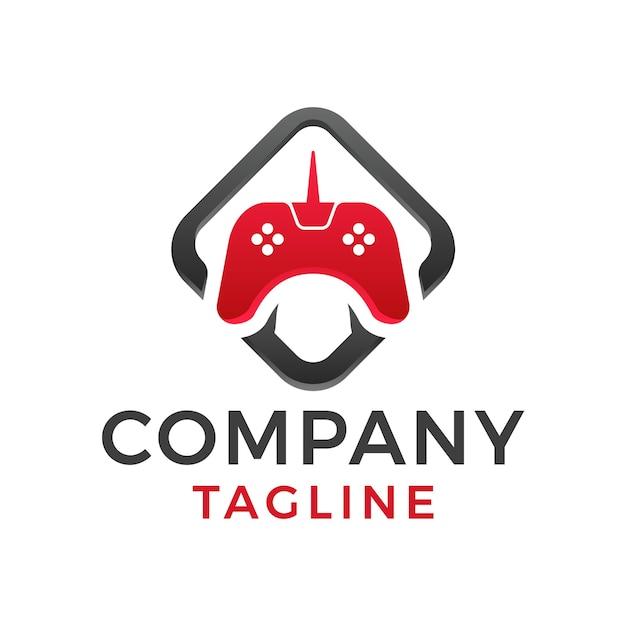 Design de logotipo moderno quadrado em negrito com joystick para jogos
