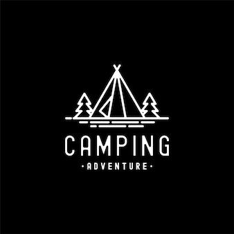 Design de logotipo monoline de aventura de acampamento vintage