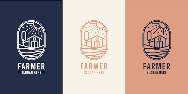 Design de logotipo monoline de cultivo em celeiro
