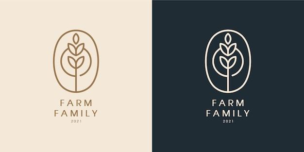 Design de logotipo monoline de luxo em folha de família de fazenda