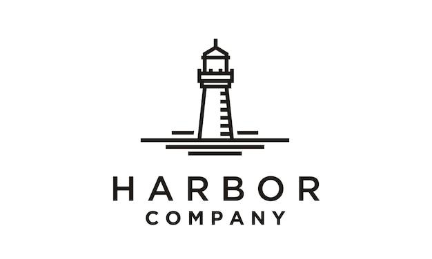 Design de logotipo monoline farol / holofote