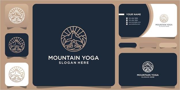 Design de logotipo montanha e ioga em um círculo