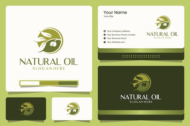 Design de logotipo natural da oi e cartão de visita