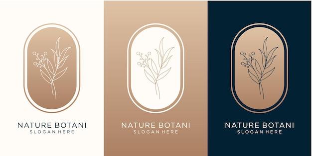Design de logotipo natural e botânico de luxo para sua marca