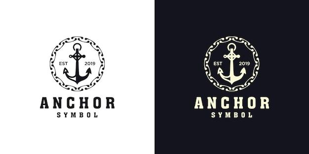 Design de logotipo náutico de âncora e corda circular