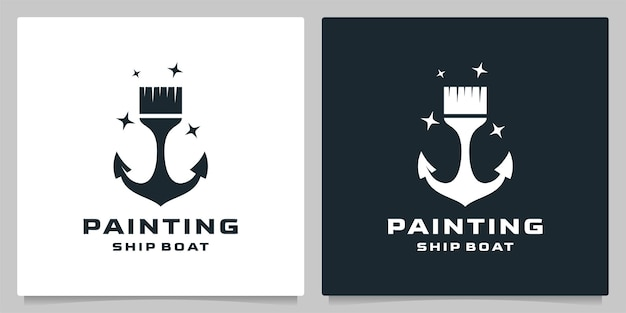 Design de logotipo náutico de praia de âncora de pincel