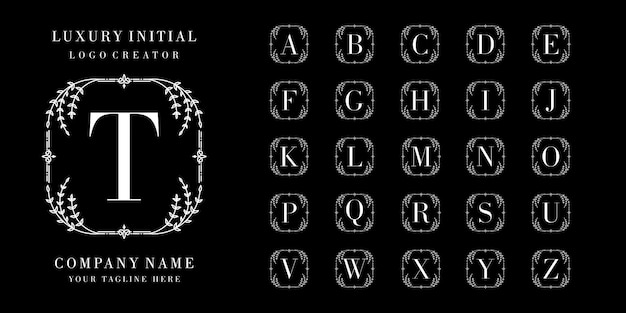 Design de logotipo ornamental de coleção inicial